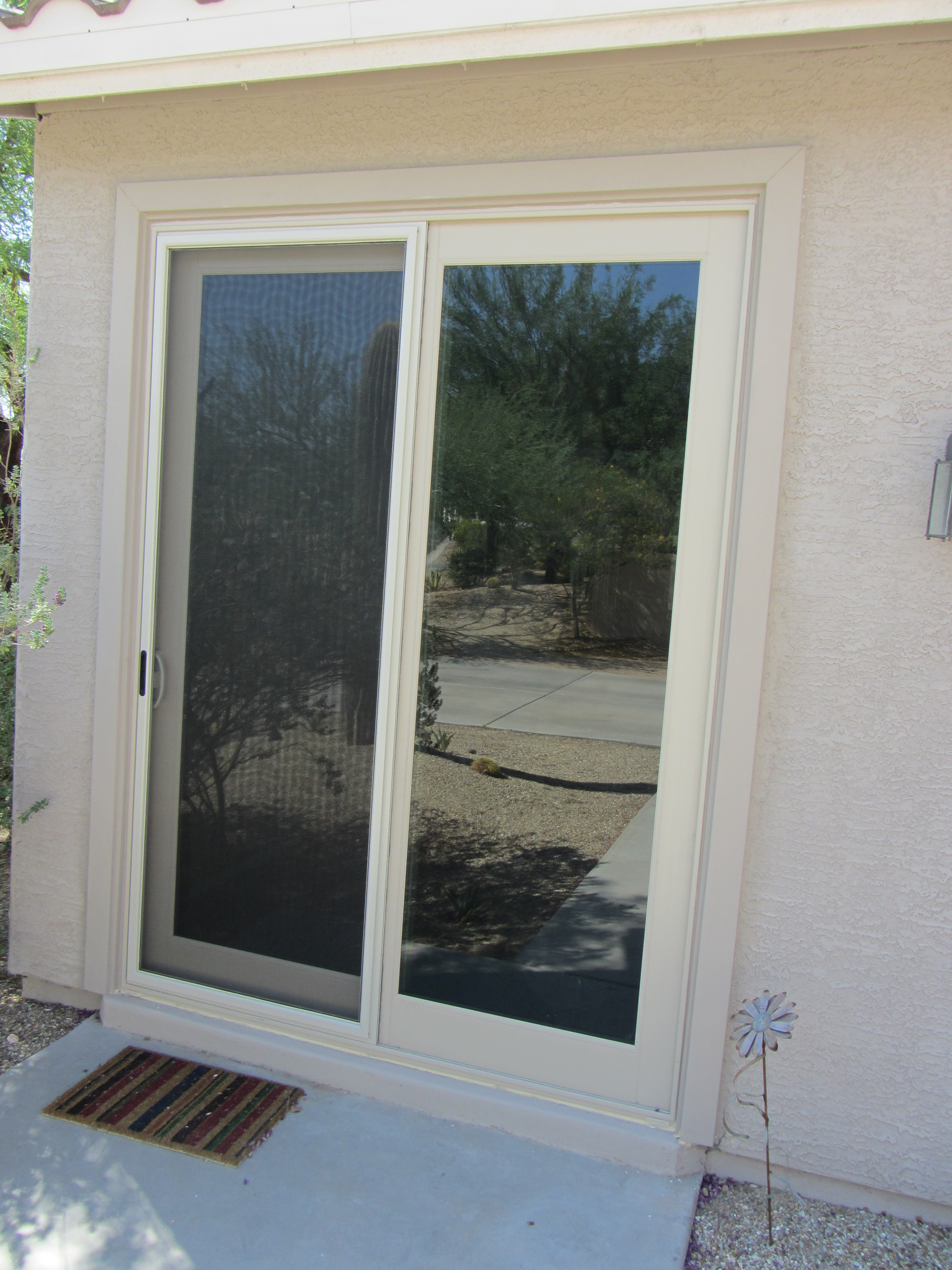Almond French Sliding Door With Sliding Screen Door Replacement