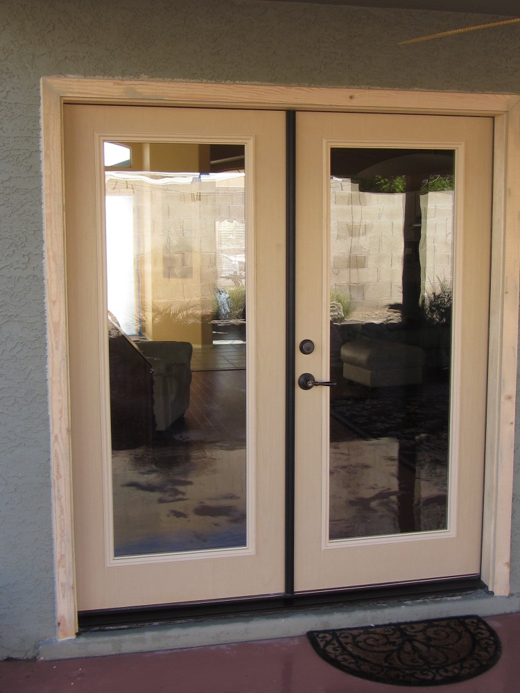 after new french doors before staining replacement