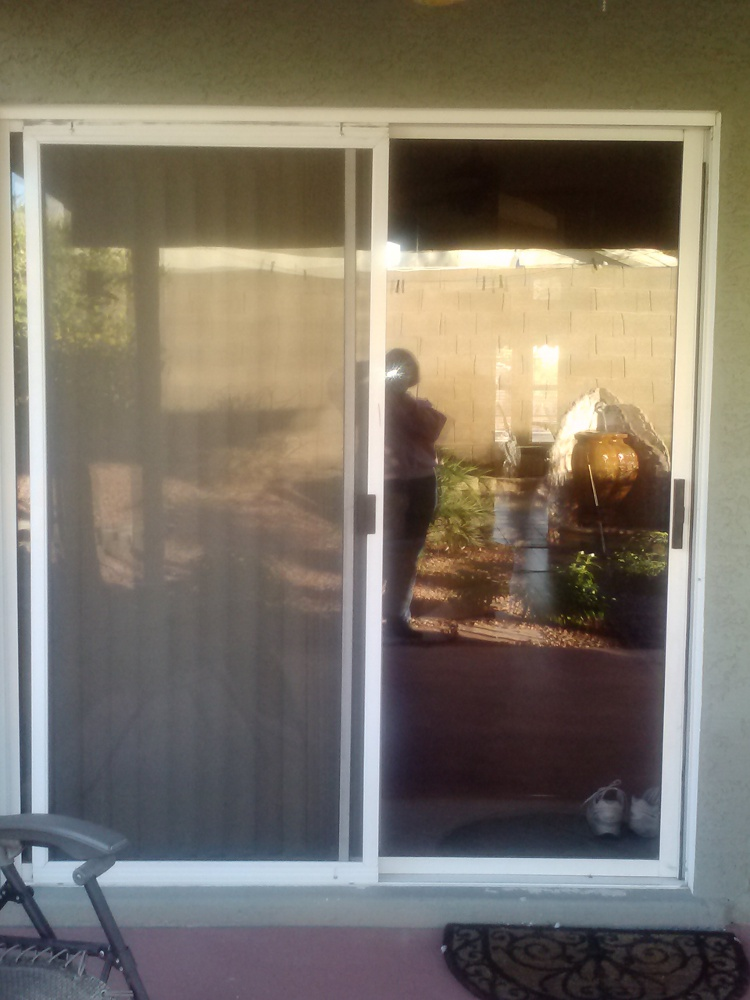 Before old sliding glass door replacement windows for Replacement slider windows